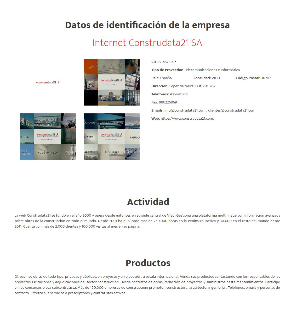 Example company sheet